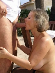 Husband fucks the mouth of his old wife..