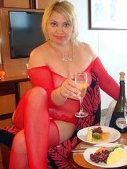 Drunk mature lady in the beautiful red..