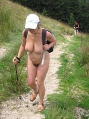 Absolutely naked shapely granny in a hike