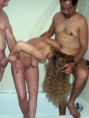 Two elderly men fuck naked mom in the..