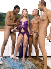 Hot interracial oral gangbang with..