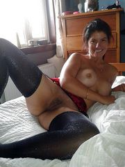 His ex-wife in black stockings spreads..