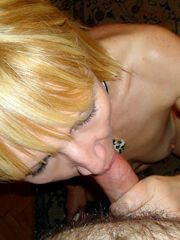 Blonde mature sucking POV, homemade..